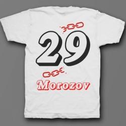 Именная футболка с объемным шрифтом и цепью 32