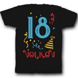 Именная футболка с праздничным шрифтом и конфетти 40