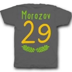 Именная футболка с тонким шрифтом и листьями 35