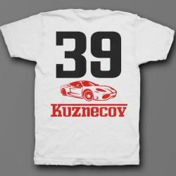 Именная футболка с шрифтом феррари и машиной 49