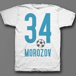 Именная футболка со спортивным шрифтом и футбольным мячом 11