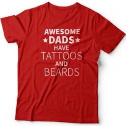"""Футболка в подарок для папы с надписью """"Awesome dads have tattoos and beards"""""""