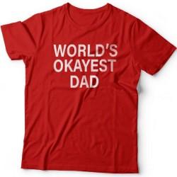 """Футболка в подарок для папы с надписью """"World's okayest dad"""" (""""Самый нормальный папа в мире"""")"""