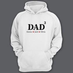 """Толстовка с капюшоном для папы с надписью """"DAD^3"""" (""""Папа в третьей степени"""") и именами ваших детей"""