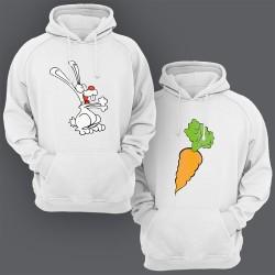 """Парные толстовки с капюшоном для двоих """"Кролик и морковка"""""""