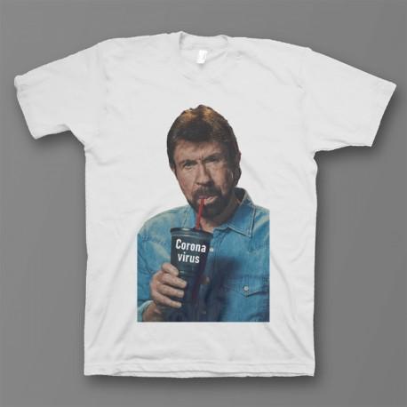 """Прикольная футболка с принтом """"Чак Норрис пьет коронавирус"""""""