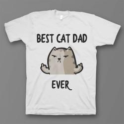 """Прикольная футболка с принтом """"Best cat dad ever"""""""