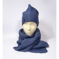 Универсальный комплект шапка и шарф (синий)