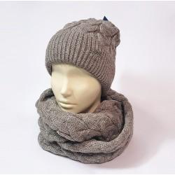 Комплект шапка и шарф женский (кофейный)