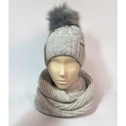 Комплект шапка и шарф (светло-серый)