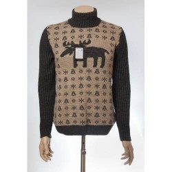 Мужской свитер с оленями 05171 Коричневый