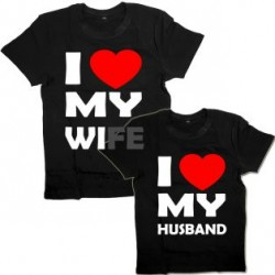 """Парные футболки с надписью """"I love my WIFE&HUSBAND"""""""