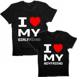 """Парные футболки с надписью """"I love my girlfriend&boyfriend"""""""