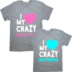 "Парные футболки с надписью ""I love my CRAZY girlfriend&boyfriend"""