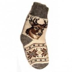Шерстяные носки серые с оленем