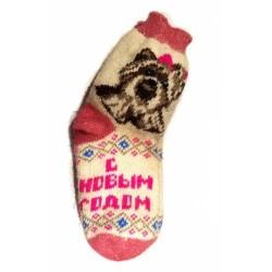 Шерстяные носки розовые новогодние
