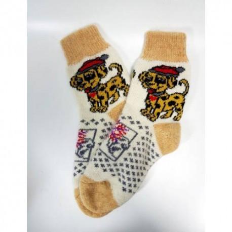 Шерстяные носки  с собачкой