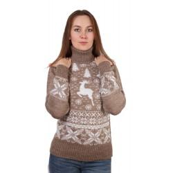 Свитер с оленями женский 3 оленя коричневый
