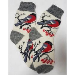 шерстяные носки со снегирями на ветке белые