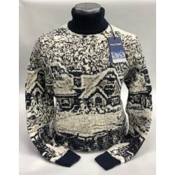 Мужской свитер чёрно-белый 230-405