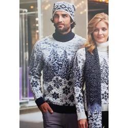 Свитер шерстяной со снежинками 230-446 (мужской и женский)