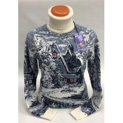 Шерстяной свитер с деревенским пейзажем 130-168 (мужской и женский)