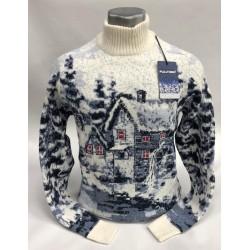 Шерстяной свитер с деревенским пейзажем 130-177 (мужской и женский)