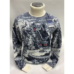 Шерстяной свитер с деревенским пейзажем 230-433