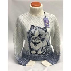 Женский свитер с котами 130-165
