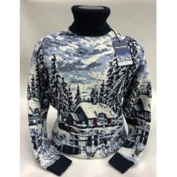 Шерстяной свитер с деревенским пейзажем 230-452 мужской и женский)