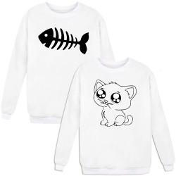 """Парные свитшоты с принтами """"Cat&Fish"""""""