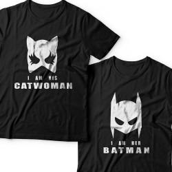 """Парные футболки для влюбленных """"I am his Catwoman (Я его женщина-кошка)""""/""""I am her Batman (Я ее бэтмен)"""""""