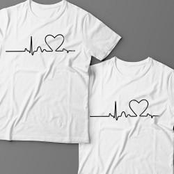 Парные футболки для влюбленных с изображением сердца на линии пульса