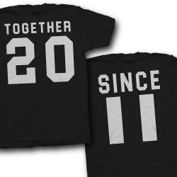 """Парные футболки для двоих влюбленных """"Together Since (Вместе с...)"""""""
