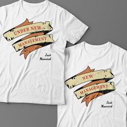 """Парные футболки для молодоженов """"Under new management (У меня новый начальник)"""""""