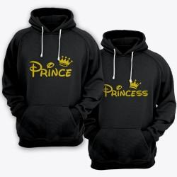 """Парные толстовки с капюшоном для влюбленных """"Prince (Принц)"""" и """"Princess (Принцесса)"""""""
