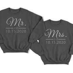 """Парные свитшоты для мужа и жены """"Mr."""" и """"Mrs."""" с датой свадьбы"""