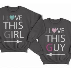 """Парные свитшоты для влюбленных """"I LOVE THIS GIRL/GUY"""" (""""Я люблю эту\этого девчонку\парня"""")"""