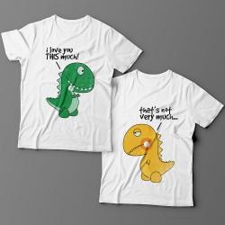"""Парные футболки для влюбленных с изображениями динозавриков и надписью  """"I love you This much"""" (""""Я люблю тебя ВОТ так"""")"""