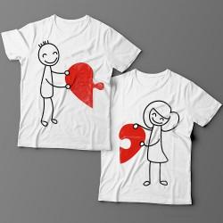 Парные футболки для влюбленных с изображениями мальчика и девочки, соединяющими сердце-пазл