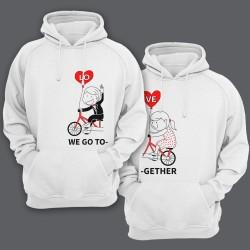 """Парные толстовки с капюшоном для влюбленных с надписями """"We go"""" (""""мы едем"""") и """"Together"""" (""""вместе"""")"""