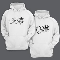 """Парные толстовки с капюшоном для влюбленных с надписями """"King"""" (Король) и  """"Queen"""" (Королева)"""