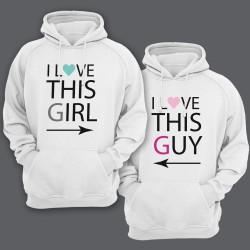 """Парные толстовки с капюшоном для влюбленных """"I LOVE THIS GIRL/GUY"""" (""""Я люблю эту\этого девчонку\парня"""")"""