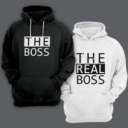 """Парные толстовки с капюшоном для влюбленных """"The boss""""/""""The real boss"""""""