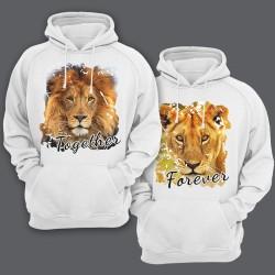 """Парные толстовки с капюшоном для влюбленных со львом и львицей """"Together forever"""""""