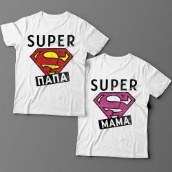 """Парные футболки для мужа и жены с надписями """"Super папа"""" и """"Super мама"""""""