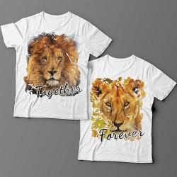 """Парные футболки для влюбленных со львом и львицей """"Together forever"""""""