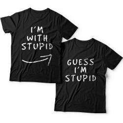 """Парные футболки для влюбленных """"I'm with stupid"""" и """"Guess i'm stupid""""."""