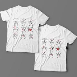 Парные футболки для влюбленных со смешными рисунками влюбленных