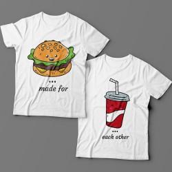 """Парные футболки для влюбленных """"made for"""" и """"each other"""""""